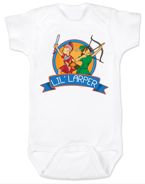 Lil Larper baby bodysuit, geeky baby gift, LARP baby, future larper, lil' larper, fantasy baby present, D & D baby, newbie, nerdy parents, geek gift for new parents, gamer parents, L.A.R.P., elven warrior baby, knight, mage baby, dragon slayer