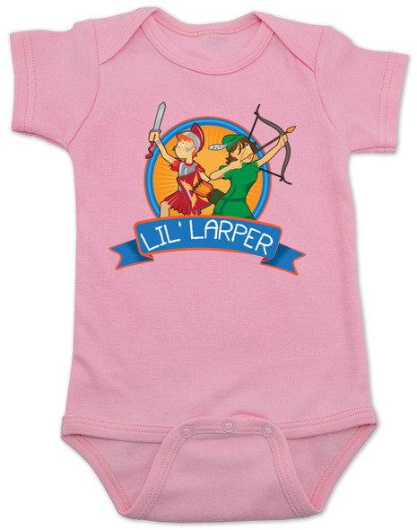 Lil Larper baby bodysuit, geeky baby gift, LARP baby, future larper, lil' larper, fantasy baby present, D & D baby, newbie, nerdy parents, geek gift for new parents, gamer parents, L.A.R.P., elven warrior baby, knight, mage baby, pink