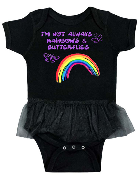 I'm not always rainbows and butterflies, not always sunshine and rainbows, funny baby girl gift, bad attitude baby, cool baby girl tutu, tutu baby bodysuit, rocker baby girl, cool girl baby shower gift, offensive baby, rainbow baby tutu