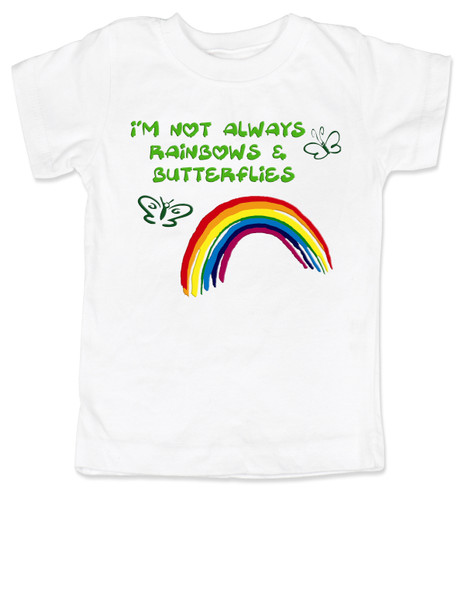 I'm not always rainbows and butterflies, not always sunshine and rainbows, funny toddler shirt, bad attitude girl shirt, tom boy toddler, cool little girl shirt