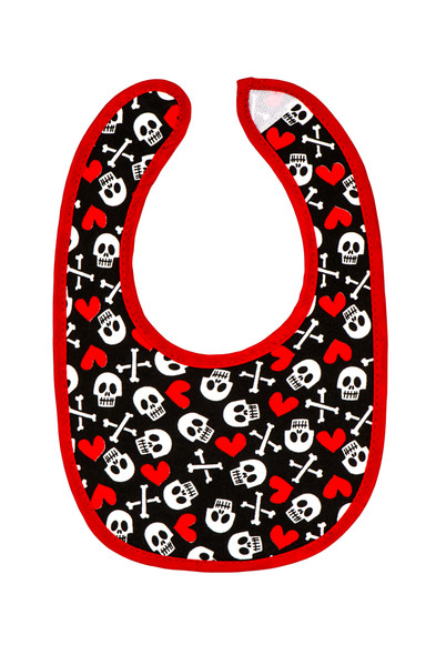 Skull and crossbones, skulls and hearts baby bib, skull baby bib, cool baby shower gift, baby gift for cool parents, rock and roll baby, metal baby girl, punk rock baby bib, badass baby, fun stuff