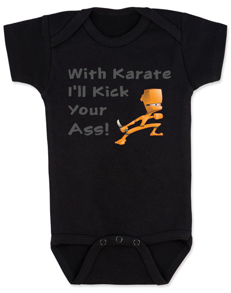 karate baby bodysuit, funny ninja baby, with karate I'll kick your ass, tenacious d baby onesie, kung fu baby gift, daddy ninja, mommy ninja, I'll kick your ass baby, badass baby, gift for cool new parents, baby ninja skills, black bodysuit