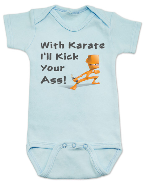 karate baby bodysuit, funny ninja baby, with karate I'll kick your ass, tenacious d baby onesie, kung fu baby gift, daddy ninja, mommy ninja, I'll kick your ass baby, badass baby, gift for cool new parents, baby ninja skills, blue bodysuit