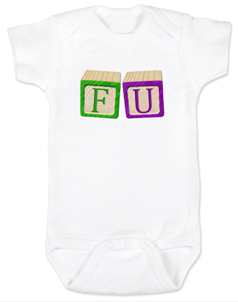 FU blocks baby Bodysuit, F you baby onsie, wooden blocks, rude blocks, offensive infant bodysuit, F bomb baby clothes, funny baby gift