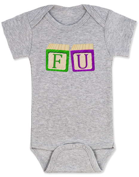 FU blocks baby Bodysuit, F you baby onsie, wooden blocks, rude blocks, offensive infant bodysuit, F bomb baby clothes, funny baby gift, grey