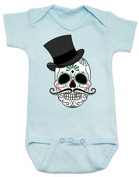 Dia de los Muertos baby Bodysuit, top hat skull, sugar skull Bodysuit, Day of the dead baby Bodysuit, Halloween baby Bodysuit, sugar skull halloween baby, blue