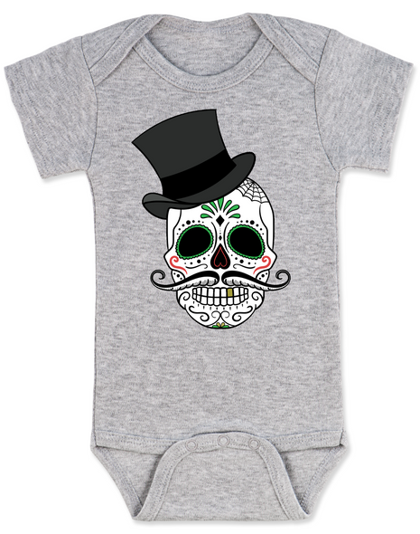 Dia de los Muertos baby Bodysuit, top hat skull, sugar skull Bodysuit, Day of the dead baby Bodysuit, Halloween baby Bodysuit, sugar skull halloween baby, grey