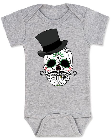 Dia de los Muertos baby Bodysuit, top hat skull, sugar skull Bodysuit, Day of the dead baby Bodysuit, Halloween baby Bodysuit, sugar skull halloween baby, grey