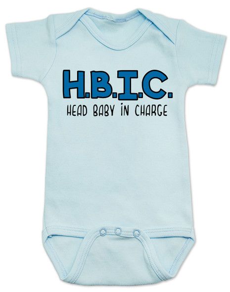 head bitch in charge, HBIC, head baby in charge, babies in charge, boss baby, HBIC baby bodysuit, funny baby shower gift, blue