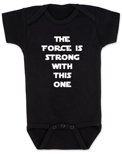 The Force is strong with this one, star wars baby Bodysuit, young jedi baby, black