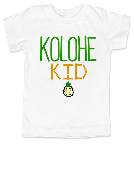 Kolohe Kid, Kolohe Baby, Hawaiian toddler shirt, wild child, crazy kids shirt, funny Hawaiian shirt for toddler, cute pineapple tshirt, Hawaii kids, beachy kids funny shirt, cool kids shirt, white