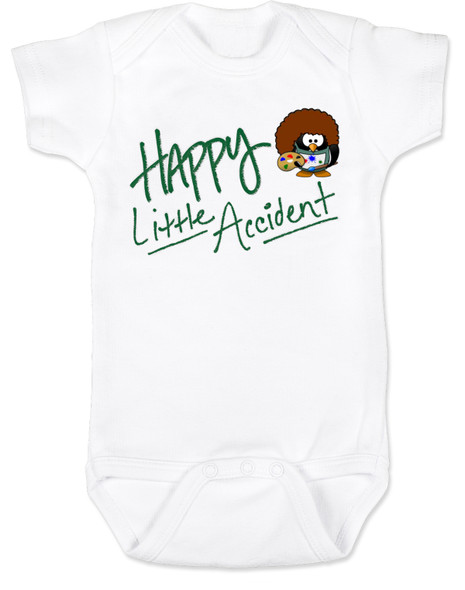 Happy Little Accident, Bob Ross baby bodysuit, Happy little trees, baby gift for artist, future painter, future artist, funny bob ross baby, happy accidents bob ross, parents who love to paint, white