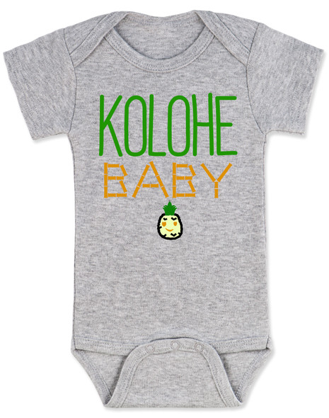 Kolohe Baby, Kolohe Kid, Hawaiian baby bodysuit, wild child, crazy baby onesie, funny Hawaiian shirt for baby, cute pineapple baby, Hawaii baby gift, beachy baby funny bodysuit, Hawaiian baby gift, surfer baby, aloha baby, Island child baby bodysuit, grey