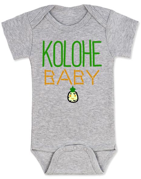 Kolohe Baby, Kolohe Kid, Hawaiian baby bodysuit, wild child, crazy baby onesie, funny Hawaiian shirt for baby, cute pineapple baby, Hawaii baby gift, beachy baby funny bodysuit, Hawaiian baby gift, surfer baby, aloha baby, Island child baby bodysuit, grey