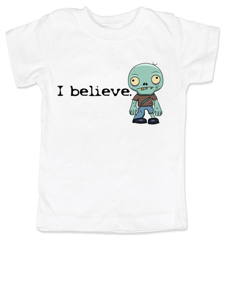 I believe in zombies, zombie toddler shirt, I believe kid shirt, zombie toddler gift, gift for zombie lovers, future zombie hunter, little zombie I believe, funny zombie toddler shirt, believe in undead, undead zombie gift for little kids, zombie toddler, white