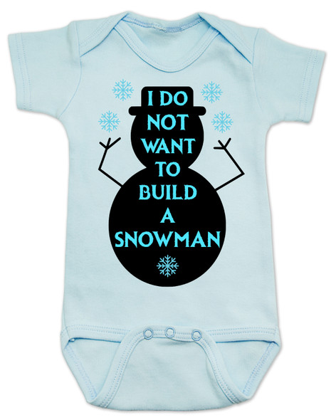 Punny Frozen build a snowman blue baby onesie
