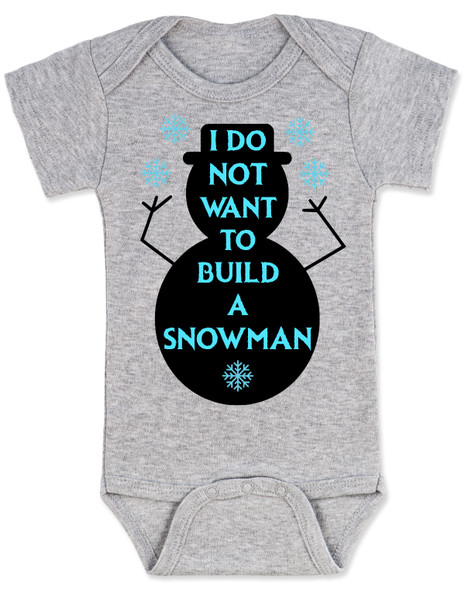 Punny Frozen build a snowman grey baby onesie
