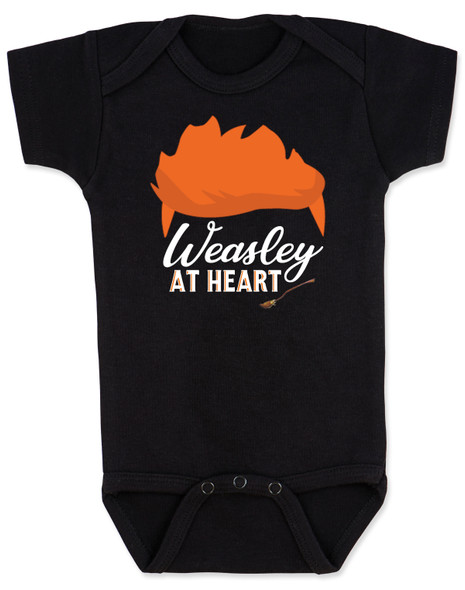 Weasley at heart, Harry potter fans baby, Wizarding world baby bodysuit, Weasley baby gift, harry potter baby gift, red head weasley baby, wizard baby, ron weasley onesie, weasley brothers shirt, harry potter gift, black