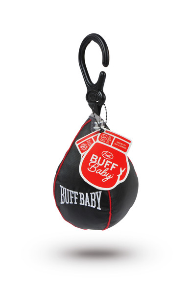 BUFF Baby Speed Bag, baby boxing bag hanging toy, car seat speed bag, boxing baby, funny baby toy, baby weights, baby gift for fit parents, baby work out, SWOLE baby, future weight lifter, body builder parents, weight lifting parents, gift for parents who box, novelty baby gift, do you even lift bro, boxing gym baby toy, black toy speed bag with hanger and tag