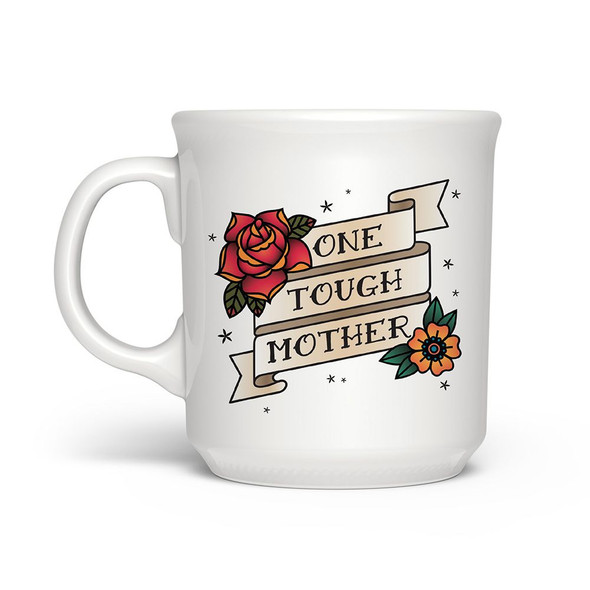 Tough Mother Coffee Cup, One tough mom coffee mug, cool mom coffee cup, gift for cool mom, coffee mom gift, large coffee cup for mom, One Tough Mother, tattoo mom, cool parents, badass mom