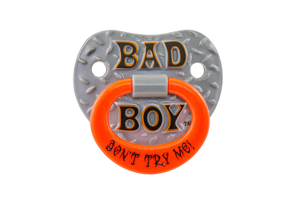 Bad Boy Binkie, tough guy pacifier, biker baby, Bad boy pacifier, Funny baby Pacifier, bad ass pacifier, attitude baby binky, baby shower gag gift, funny infant pacifier, funny baby binky, funny binkie, punk rock baby, billy-bob bad boy pacifier, novelty baby pacifier, baby wearing funny pacifier, cool kids pacifier, funny new parent gift, baby gift, pacifier front