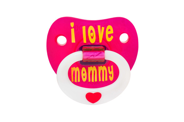 I love my mommy, i love mommy binkie, mommy love baby binky, cute baby pacifier for girls, pink baby pacifier, love my mommy pacifier, pacifier front