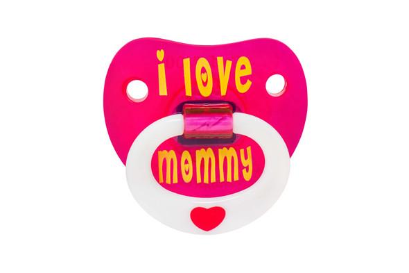 I love my mommy, i love mommy binkie, mommy love baby binky, cute baby pacifier for girls, pink baby pacifier, love my mommy pacifier, pacifier front