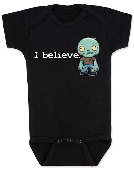 I believe in zombies, zombie baby bodysuit, I believe baby bodysuit, zombie baby gift, baby shower gift for zombie lovers, future zombie hunter, baby zombie I believe, funny zombie baby bodysuit, believe in undead, undead zombie gift for new parents, zombie baby, black