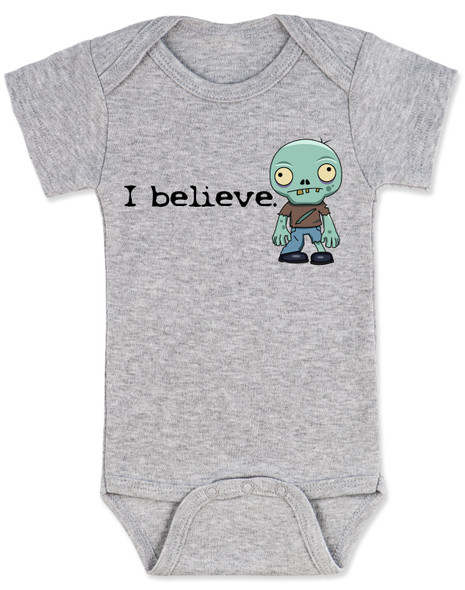 I believe in zombies, zombie baby bodysuit, I believe baby bodysuit, zombie baby gift, baby shower gift for zombie lovers, future zombie hunter, baby zombie I believe, funny zombie baby bodysuit, believe in undead, undead zombie gift for new parents, zombie baby, grey