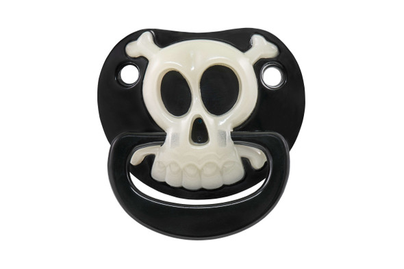 Skull binkie, skull and crossbones pacifier, pirate baby, pirate pacifier, playground pirate, glow in the dark baby binky, Funny baby Pacifier, badass baby, bad ass baby pacifier, attitude baby binky, baby shower gag gift, funny infant pacifier, funny baby binky, funny binkie, punk rock baby, billy-bob bad boy pacifier, novelty baby pacifier, baby wearing funny pacifier, cool kids pacifier, funny new parent gift, baby gift, pacifier front