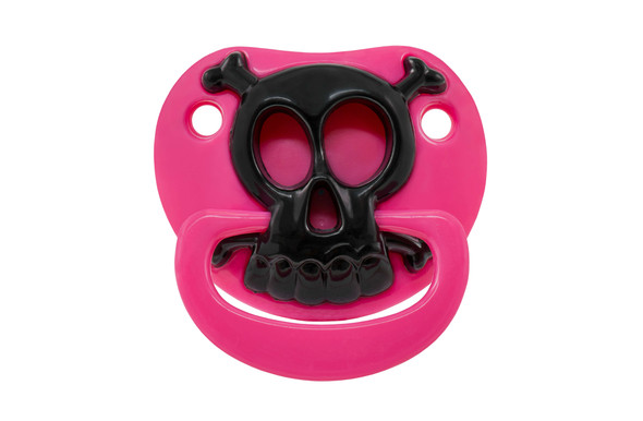 Skull binkie, skull and crossbones pacifier, pirate baby, cool baby girl pacifier, girly skull binky, baby girl skull binky, black and pink skull pacifier, Funny baby Pacifier, badass baby girl, bad ass baby pacifier, attitude baby binky, baby shower gag gift, funny infant pacifier, funny baby binky, funny binkie, punk rock baby, billy-bob bad boy pacifier, novelty baby pacifier, baby wearing funny pacifier, cool kids pacifier, funny new parent gift, baby gift, pacifier front