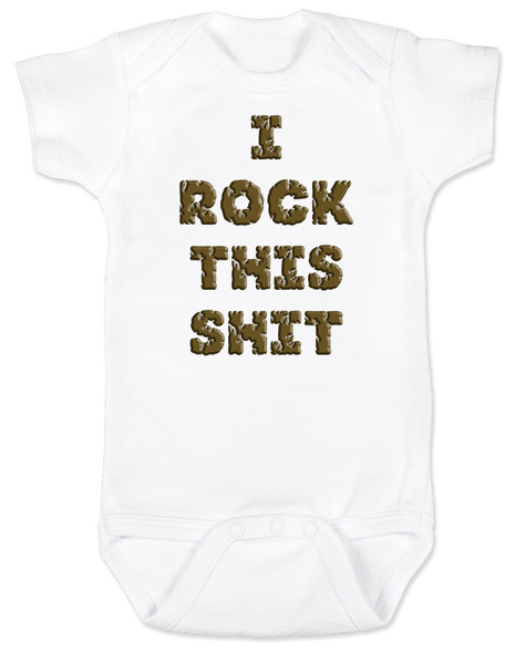 rock bodysuit, rock this shit, funny baby rock shirt, funny baby bodysuit about poop, funny poop bodysuit, rockin roll baby, white