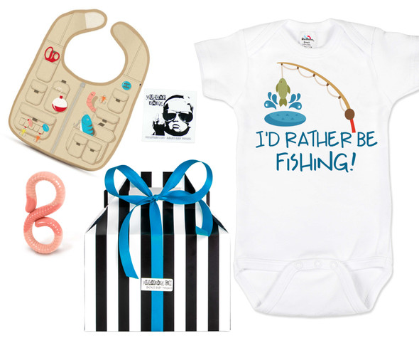 Fishing baby gift box, nautical baby gift set, gone fishin baby, Nautical baby shower, Fishing with dad, future fisherman, fishing baby gift set, id rather be fishing baby bodysuit, fishing bib, worm baby teether, funny fishing baby gift