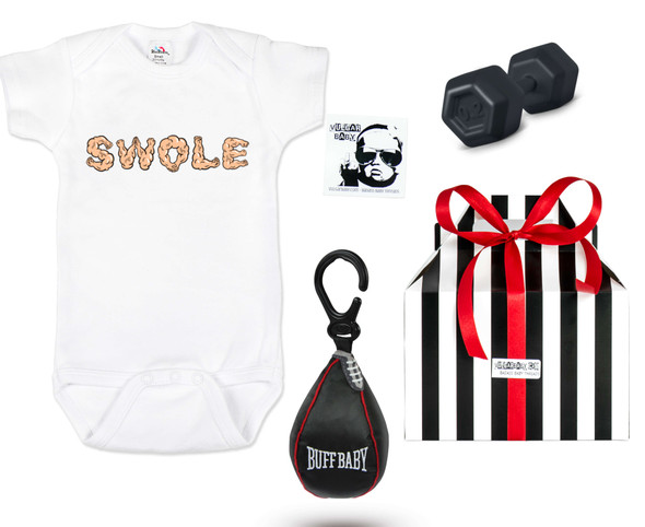 Swole baby, buff baby gift set, work out baby gift, future gym buff, babies that lift, new parents that work out, fitness baby gift, baby shower gift for fit parents, personal trainer baby gift, baby boxing speed bag toy, baby weight dumbbell rattle, weight lifting parents, muscle baby gift box