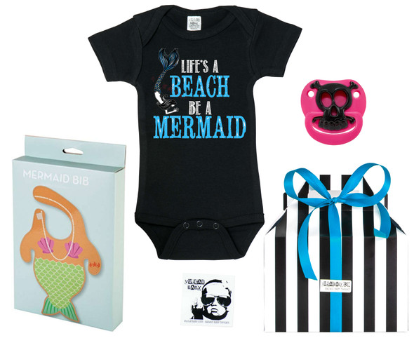 Mermaid baby gift set, Little Mermaid Baby Box, lifes a beach, be a mermaid, funny ocean themed gift set, mermaid baby bib, cute gift set for girls, mermaid baby girl gift, baby shower gift for ocean lovers, i come from the water, water baby gift, cool baby girl gift set, pink skull binky, girl skull binkie, Pink pirate skull baby pacifier