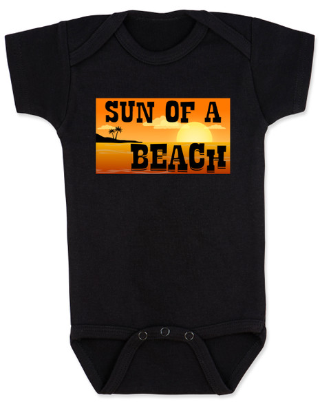 Sun of a beach, son of a beach, SOB baby bodysuit, beach baby, ocean lover parents, ocean baby bodysuit, summertime baby gift, fun in the sun baby, sunset baby, dark