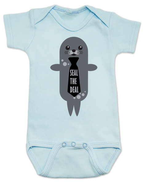 Seal the Deal, boss baby, punny baby bodysuit, cute seal baby, seal with tie, business baby, future salesman, baby seal the deal, blue
