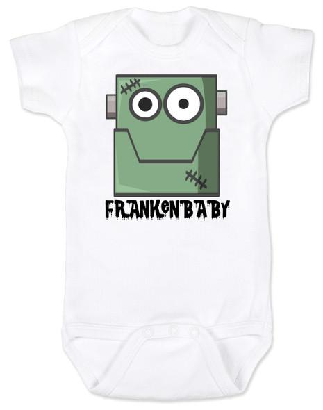 Frankenstein baby bodysuit, cute baby frank, halloween baby bodysuit, Frankenbaby, frankenbabies, Big Frank baby halloween, Frankenstein Halloween baby, white