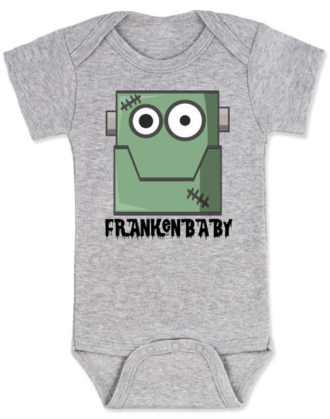 Frankenstein baby bodysuit, cute baby frank, halloween baby bodysuit, Frankenbaby, frankenbabies, Big Frank baby halloween, Frankenstein Halloween baby, grey