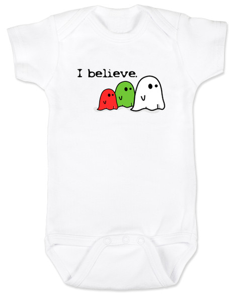 I believe in ghosts, cute ghost baby bodysuit, ghost baby halloween, Ghosts on baby bodysuit, Supernatural baby