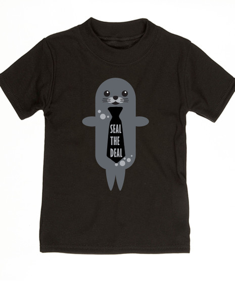 Seal the Deal, boss baby, little boss, punny toddler shirt, cute seal with tie, business toddler, future salesman, baby seal the deal, black