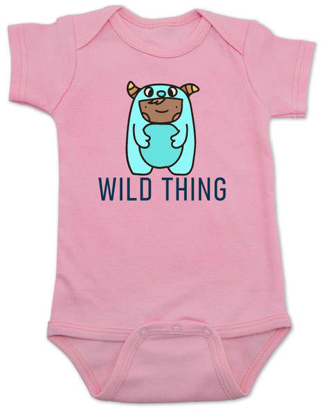 wild child baby bodysuit, where the wild things are, little wild thing, cute monster baby, wildling baby,  baby dressed as wild thing, cute bookish baby bodysuit, pink