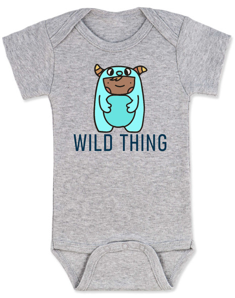 wild child baby bodysuit, where the wild things are, little wild thing, cute monster baby, wildling baby,  baby dressed as wild thing, cute bookish baby bodysuit, grey