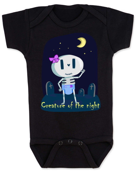 Creature of the night, halloween baby girl bodysuit, funny go to sleep  baby, halloween baby skeleton, baby up all night pun,  skeleton baby girl onesie, nocturnal baby bodysuit, sleepless baby funny bodysuit, October baby bodysuit, black