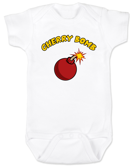 Cherry bomb, badass baby gift, baby shower for cool parents, mischievous baby, little firecracker, wild child baby bodysuit,  white