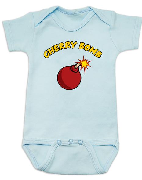 Cherry bomb, badass baby gift, baby shower for cool parents, mischievous baby, little firecracker, wild child baby bodysuit,  blue
