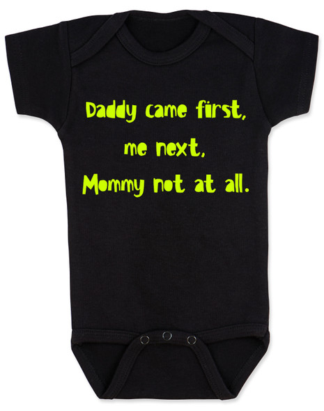 funny joke, baby gift for dad, bad joke baby bodysuit, black