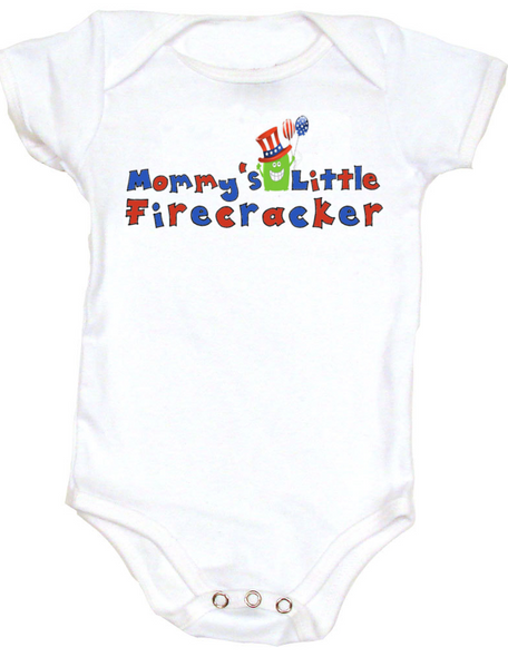 Mommy's Little Firecracker baby Bodysuit, 4th of July Onsie, memorial day, fourth of july, Patriotic Infant Bodysuit