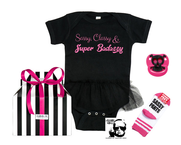 Sassy baby gift set, Badass baby gift set, Sassy girl gift, baby shower for cool mom, cool kids gift box, tutu baby bodysuit, sassy, classy, super badassy, gift set for cool toddlers, little girl toddler gift, badass little girl, fun gift set for girls, strong little girl gift, vulgar baby gift set with pink bow