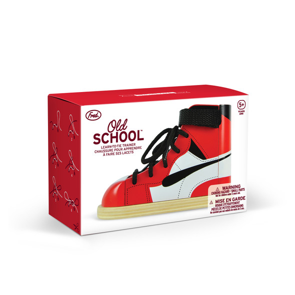 old school shoe toddler toy, learn to tie shoes, toddler toy shoe, fun learning toy for young kids, black white and red toy shoe, wooden shoe learn to tie, learn to tie trainer, old school toddler gift, cool gift for toddlers, cool toy for little kids, in packaging